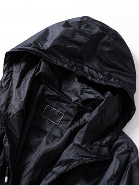 best Hooded Drawstring Zip Up Lightweight Jacket - BLACK 3XL Mobile