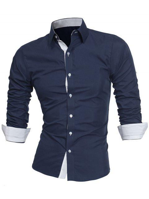 Turndown Collar Panel Design Camisa Formal - Azul Marino  2XL Mobile