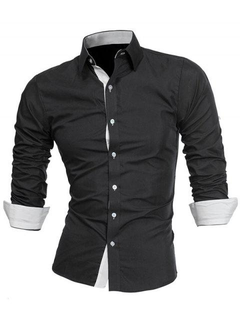 sale Turndown Collar Panel Design Formal Shirt - WHITE AND BLACK 2XL Mobile