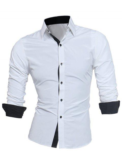 Turndown Collar Panel Design Camisa Formal - Blanco L Mobile
