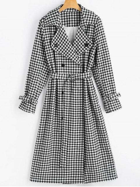 shop Snap Button Belted Checked Coat - CHECKED XL Mobile
