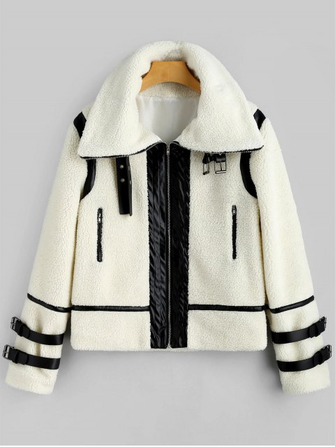 women Faux Leather Panel Zippered Shearling Coat - OFF-WHITE XL Mobile