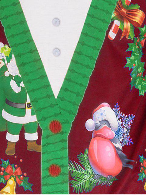 Santa Claus 3D Print Christmas Tee - 紅 2XL Mobile