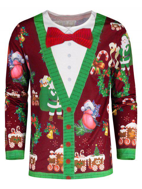 Santa Claus 3D Print Christmas Tee - 紅 M Mobile