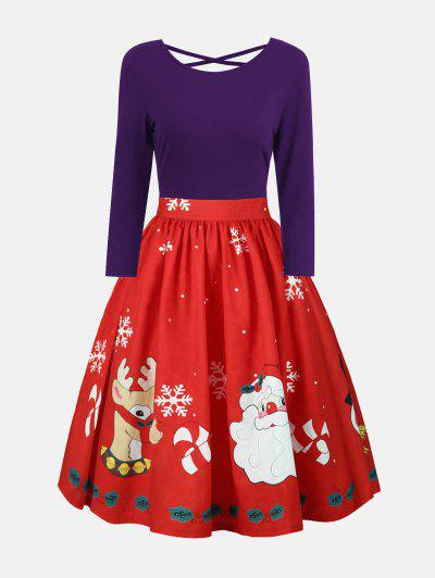 Plus Size Christmas Print Long Sleeve Dress