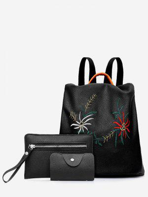 Set de mochila de 3 piezas bordado de flores