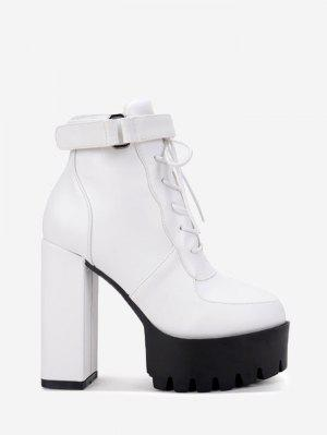 Lug Sole Faux Leather Ankle Boots