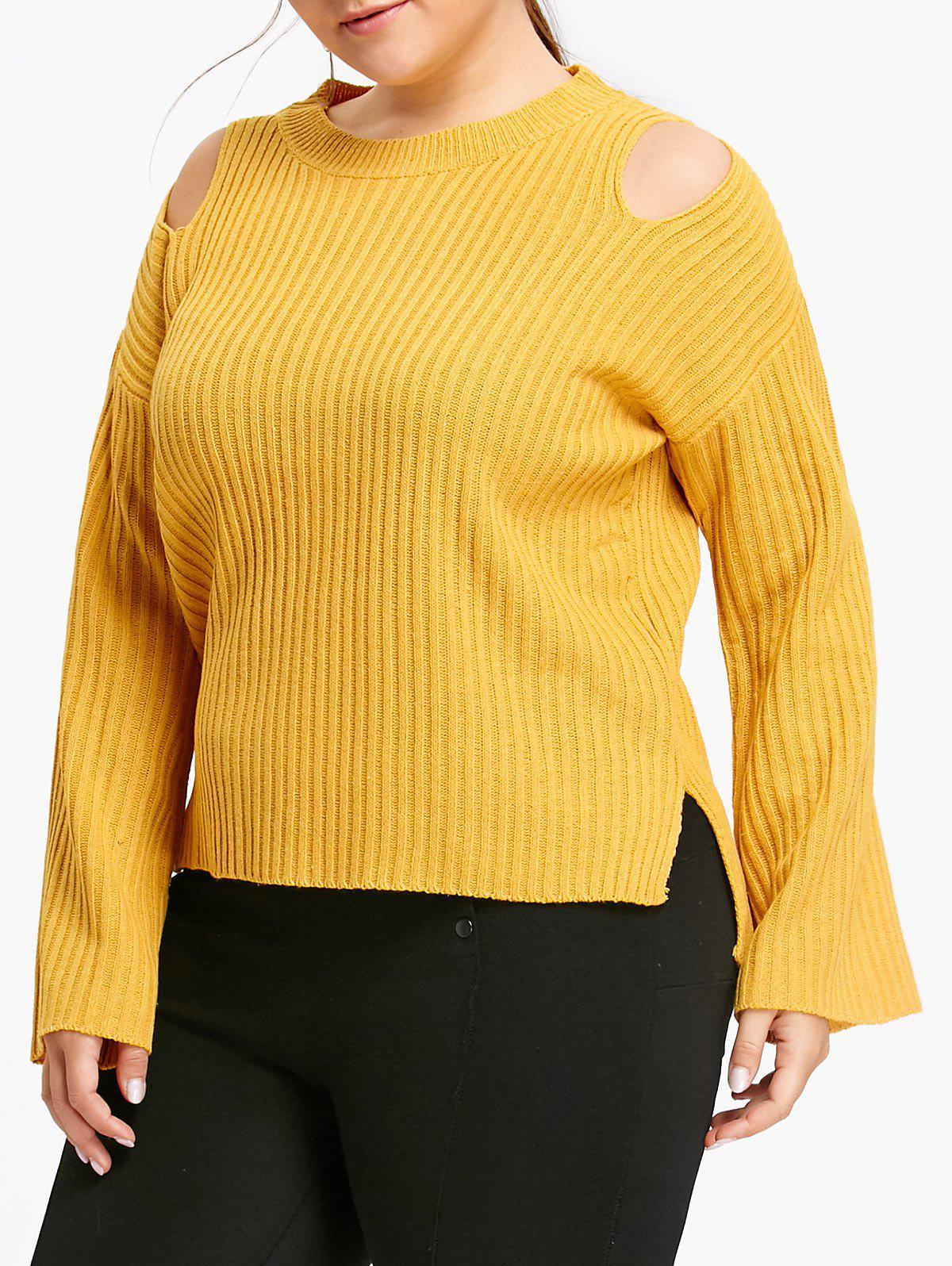 Plus Size Ribbed Cutout Shoulder Sweater 233190301