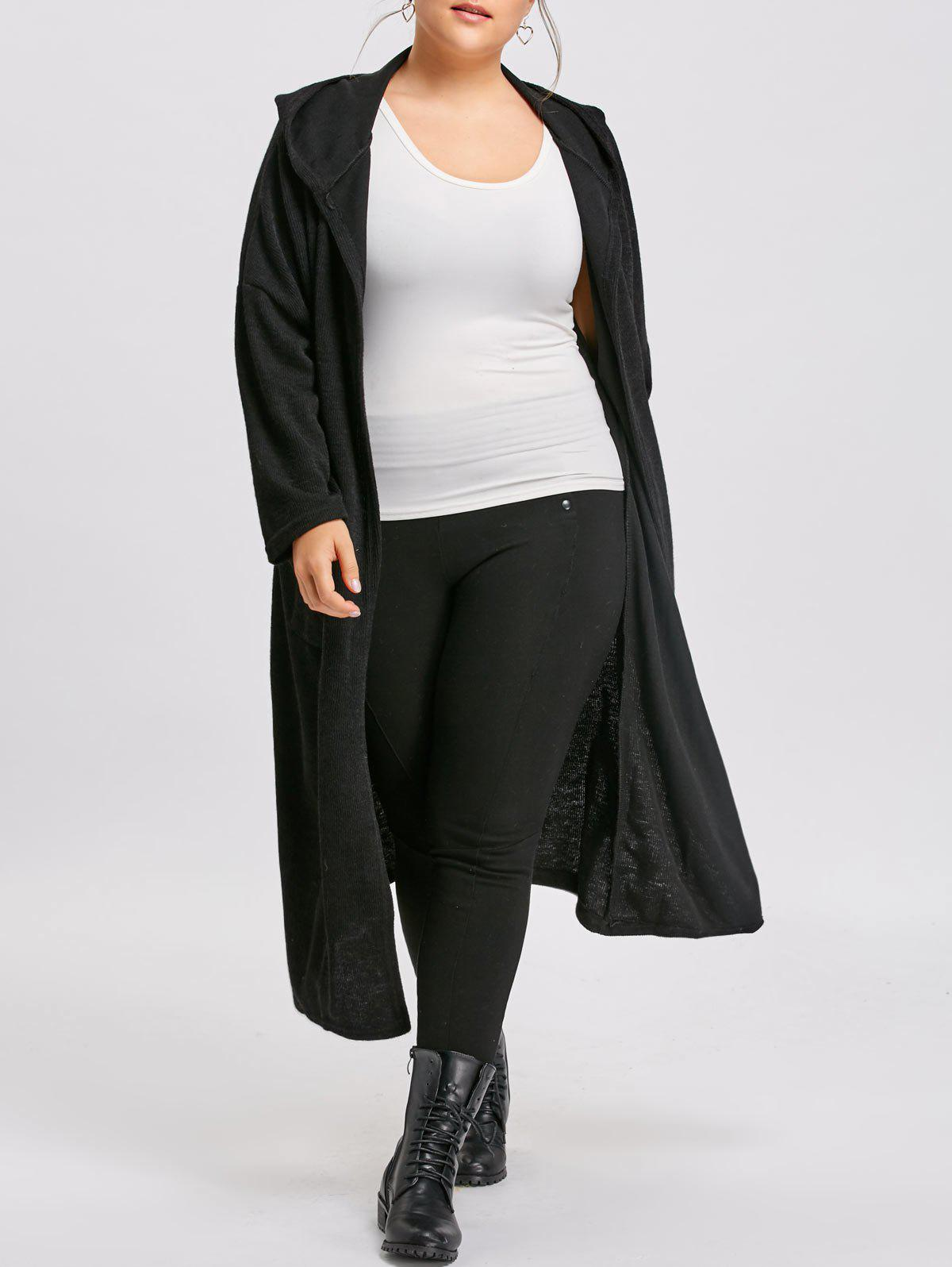 Image of Plus Size Pockets Long Hooded Coat
