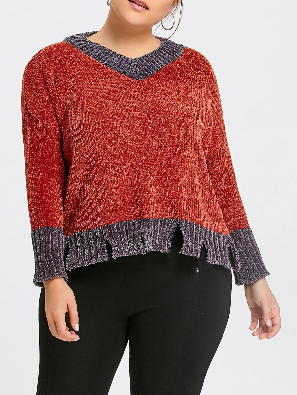 Plus Size Ribbed Contrast Ripped Sweater 234892302