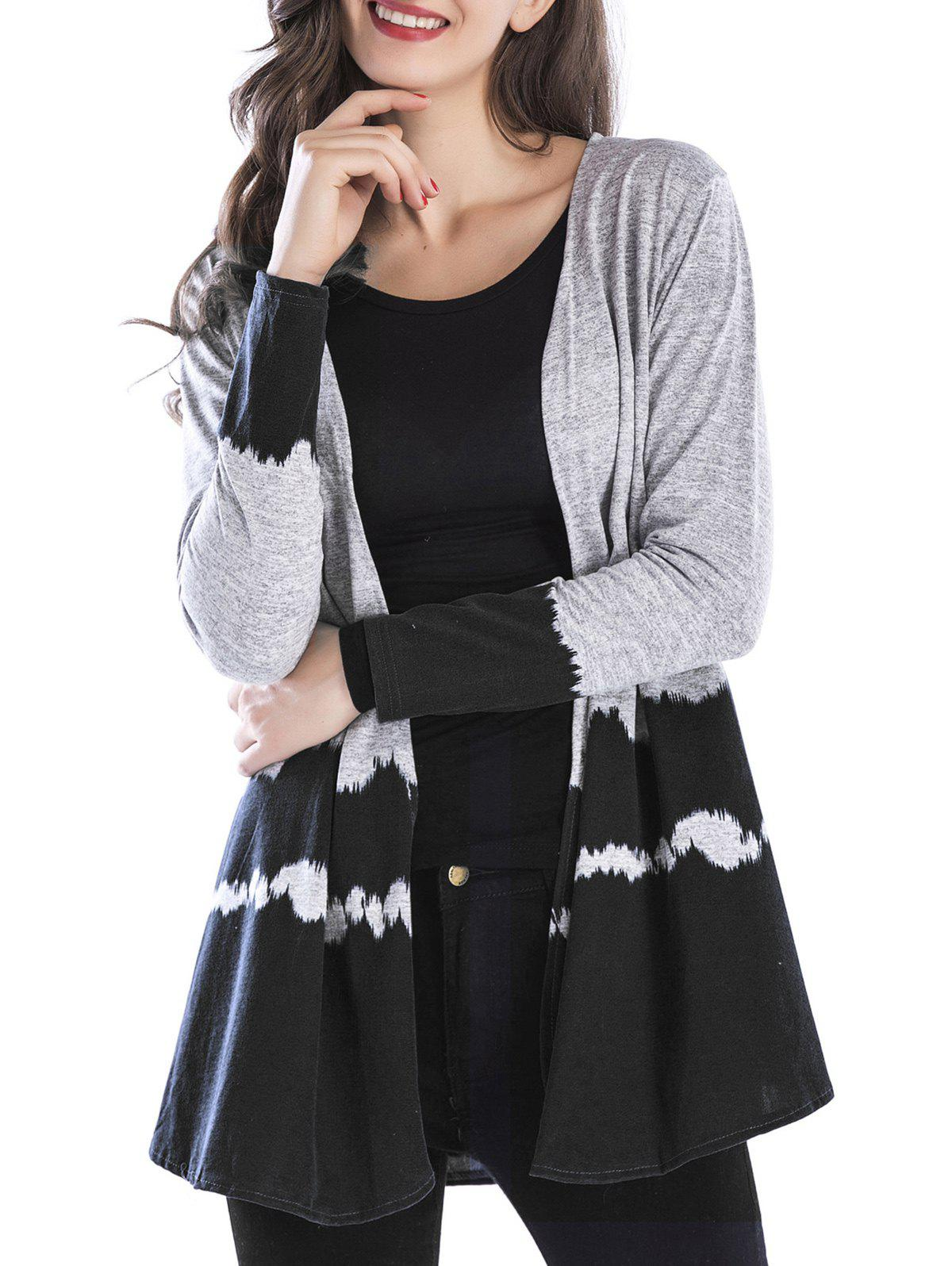 Open Front Two Tone Long Cardigan 235514505
