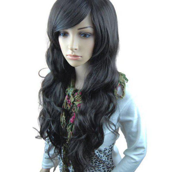 Long Side Bang Fluffy Layered Wavy Synthetic Wig 235473001