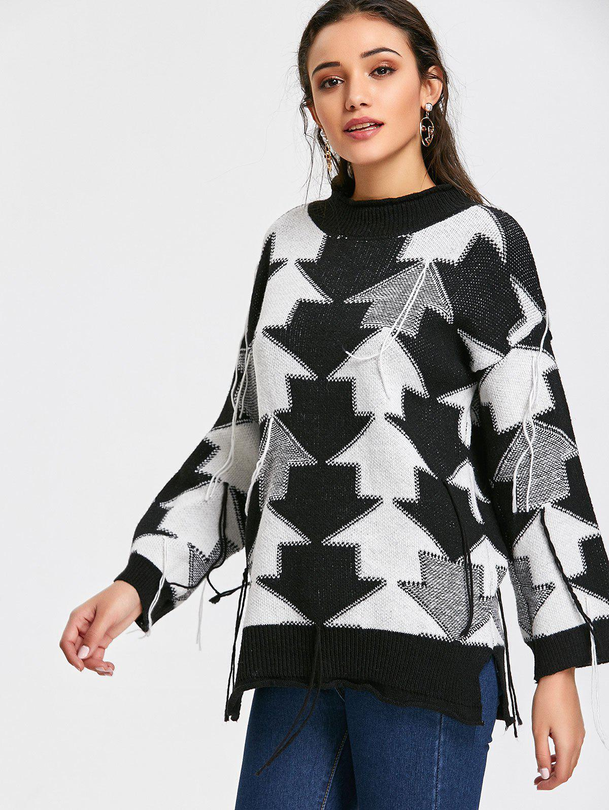 Pullover Contrasting Arrow Tassels Sweater - BLACK ONE SIZE