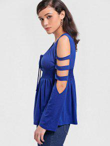 a2199269e35313 28% OFF  2019 Lace Up Cut Out Cold Shoulder Top In BLUE
