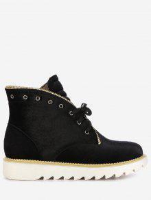 حذاء مخملي بأربطة وكعب مكدس - أسود 41