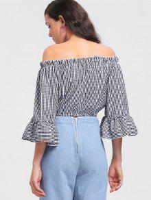 d358deb211aefe 22% OFF] 2019 Checked Cropped Off Shoulder Blouse In CHECKED | ZAFUL