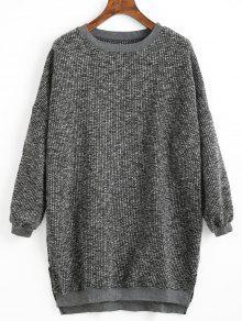 Buy High Low Hem Side Slit Sweater - DEEP GRAY ONE SIZE