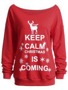 Keep Calm Christmas.Keep Calm Skew Neck Christmas Sweatshirt