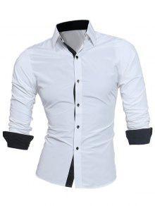 تصميم طوق طوق تصميم الرسمي قميص - أبيض L