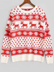 Suéter De Navidad Gráfico De Los Ciervos De Copo De Nieve - Rojo