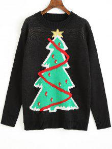Suéter Gráfico Del árbol De Navidad - Negro