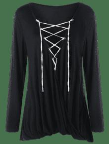 27% OFF  2019 Plus Size Crossover Lace Up Top In BLACK 5XL  b40e9b5d1
