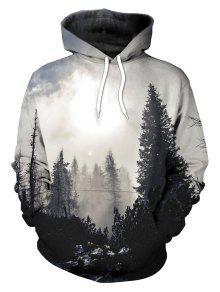 3D الكنغر الغابات جيب هوديي - أسود Xl
