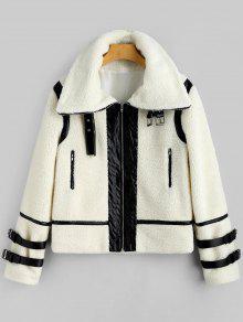 Manteau En Peau De Mouton Zippé En Faux Cuir - Blanc Cassé S