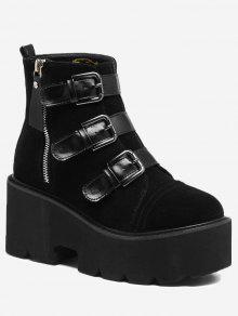 منصة متعددة أبازيم الجانب البريدي الأحذية - أسود 35