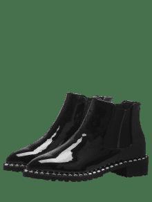 rivets low heel elastic band boots