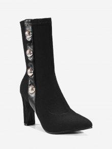حذاء الكاحل مدبب من الأمام ذو كعب عالي مزين بجواهر مزيفة - أسود 40