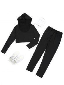 Pantalones Cortos Con Capucha Y Pantalones Deportivos Con Cordones - Negro S