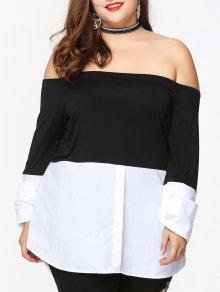 7c5e839a79f 36% OFF] 2019 Two Tone Plus Size Off Shoulder Blouse In BLACK WHITE ...