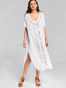 فستان ماكسي انقسام مطرز  - أبيض