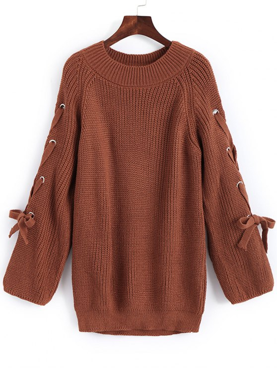 lady Pullover Raglan Sleeve Lace Up Sweater - LIGHT BROWN ONE SIZE