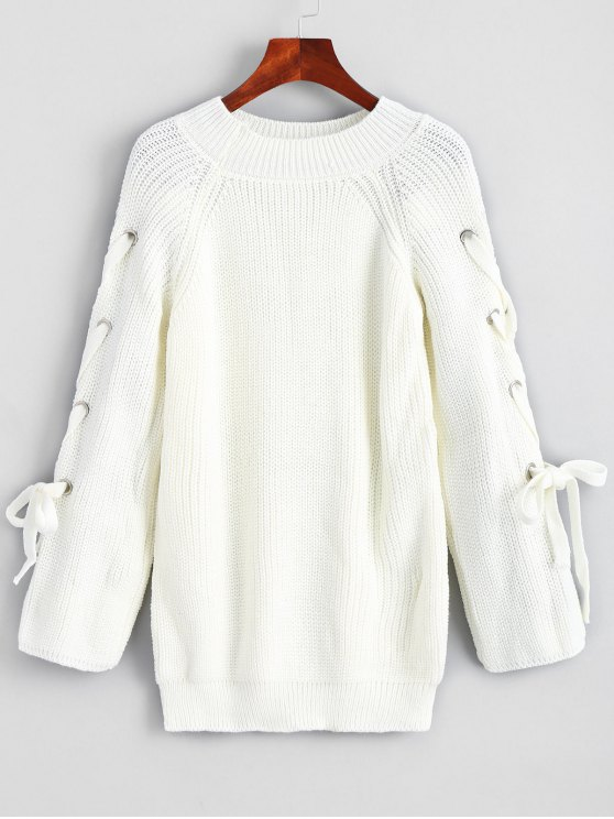 new Pullover Raglan Sleeve Lace Up Sweater - WHITE ONE SIZE