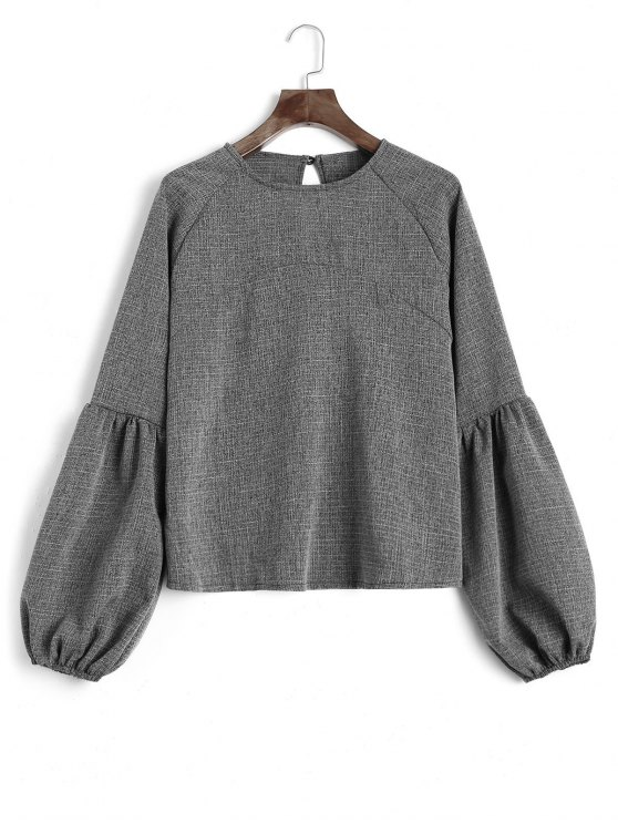 outfits Keyhole Lantern Sleeve Heathered Sweatshirt - DEEP GRAY M