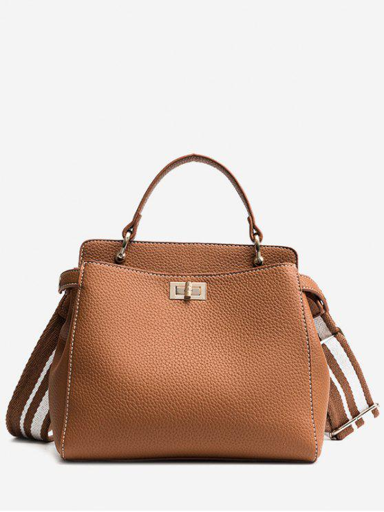 chic Top Handle Faux Leather Stitching Handbag - BROWN