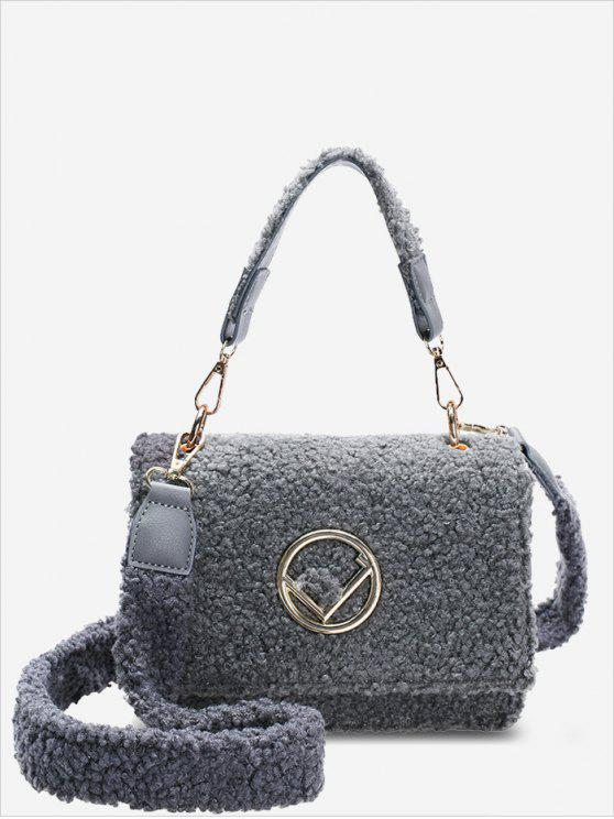 womens Metal Embellished Faux Fur Crossbody Bag - GRAY