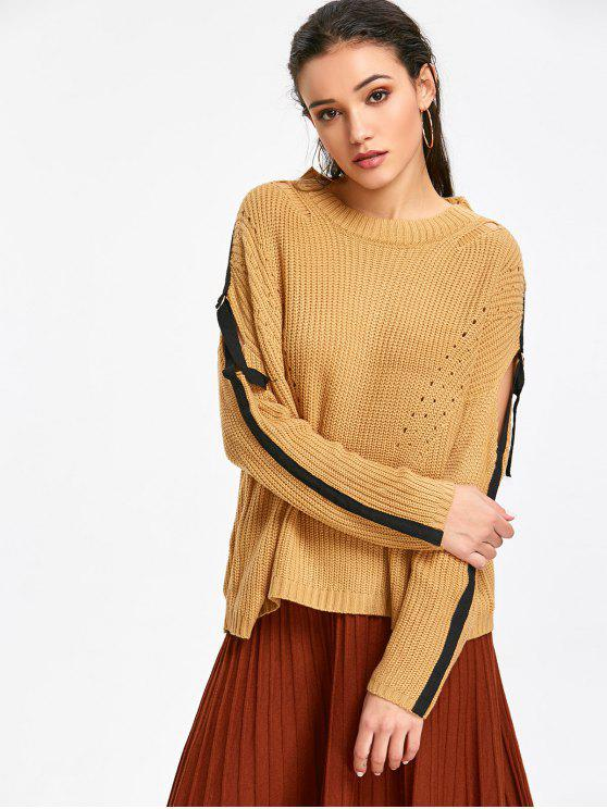 women's Strips Pullover Cut Out Sweater - CAMEL ONE SIZE