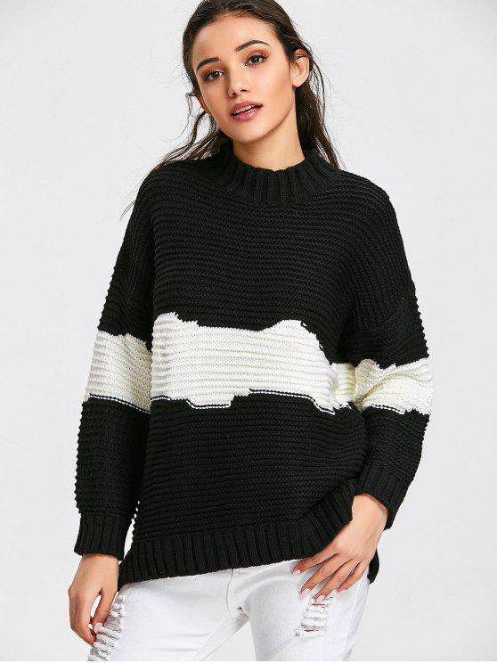 new Mock Neck Pullover Two Tone Sweater - WHITE AND BLACK ONE SIZE
