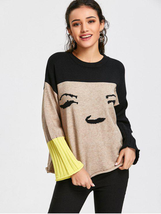 outfits Color Block Pullover Graphic Sweater - APRICOT ONE SIZE