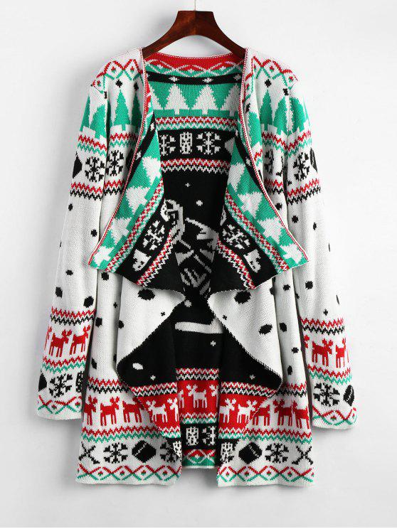online Christmas Graphic Tunic Draped Knitted Cardigan - WHITE 2XL