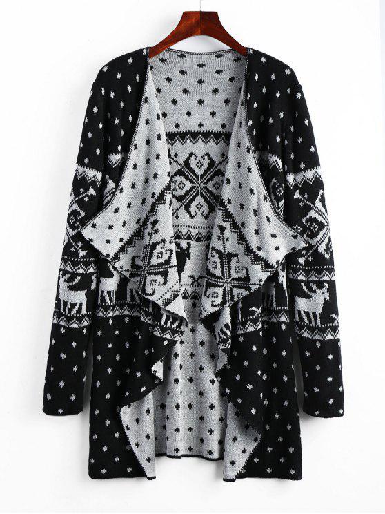 Geometric Christmas Elk Tunic Draped Cardigan BLACK: Sweaters 2XL ...