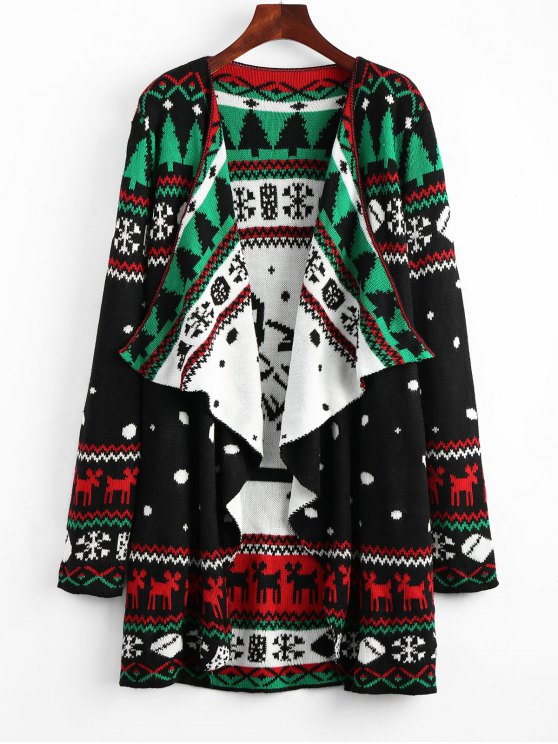 women's Christmas Graphic Tunic Knitted Draped Cardigan - BLACK S