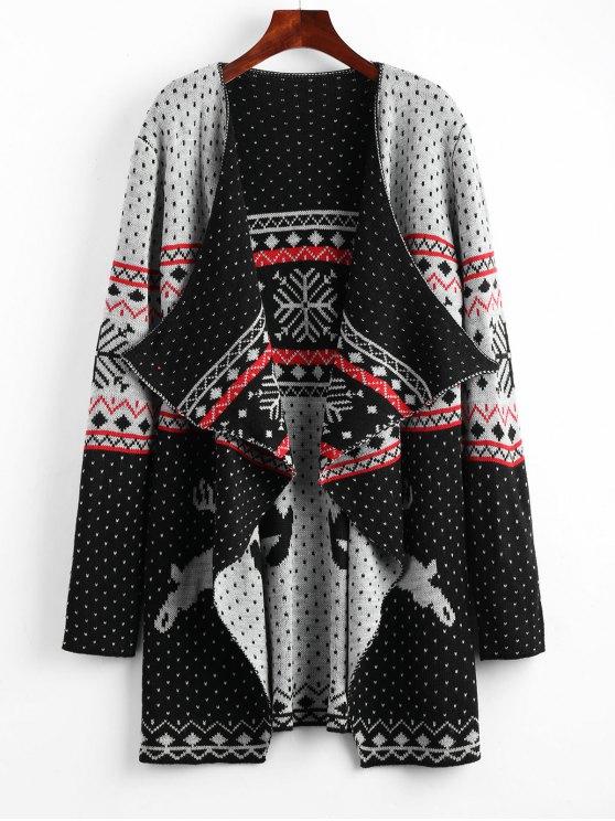 Cárdigan de túnica drapeada con lunares y renos de Navidad - Colores Mezclados M