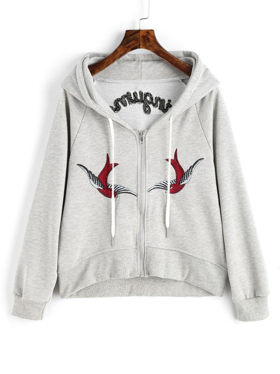 unique Zip Up Bird Floral Embroidered Hoodie - GRAY L