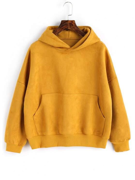 Oversized Faux Suede Hoodie With Pocket Mustard