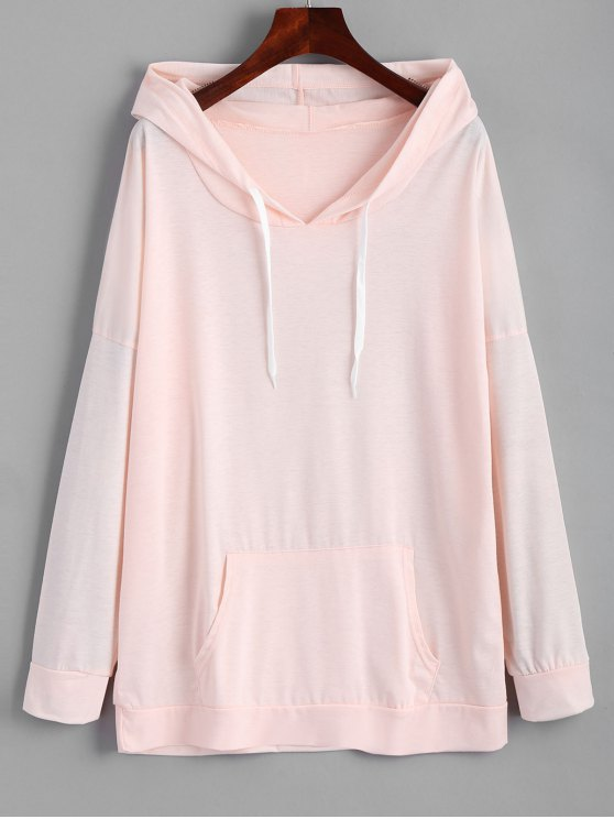 lady Oversized Drawstring Hoodie with Pocket - PINK L