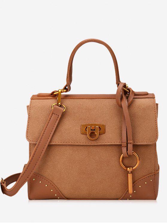 chic Rivets Multi Function Metal Handbag - BROWN